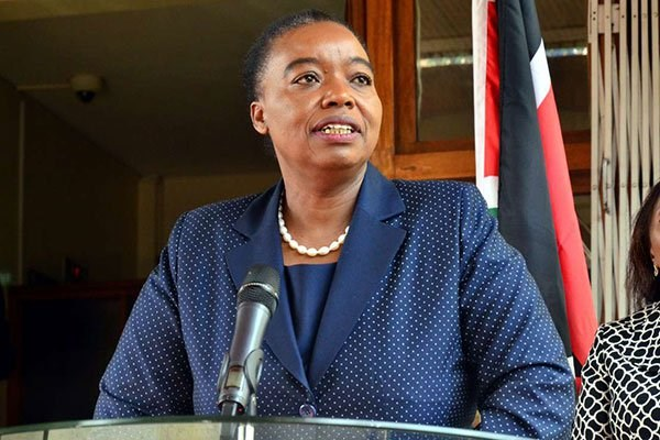 Foreign Affairs Cabinet Secretary Monica Juma addressing journalists outside her Nairobi office on May 21, 2019 on her talks with European Union's High Representative for Foreign Affairs Federica Mogherini (not in frame). Kenya and Somalia are wrangling over territorial waters rich in hydrocarbons. PHOTO | FILE | NATION MEDIA GROUP